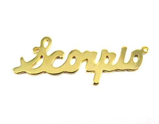 Gold Plated Astrological Name Plate Pendants - Scorpio