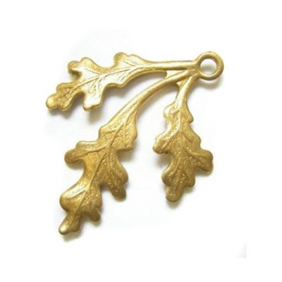 brass left facing leaf charm
