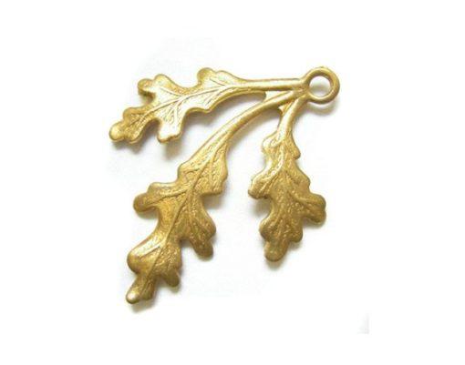 brass left facing leaf charm