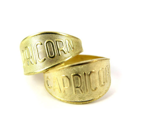 Raw Brass Astrological Sign Ring - CAPRICORN