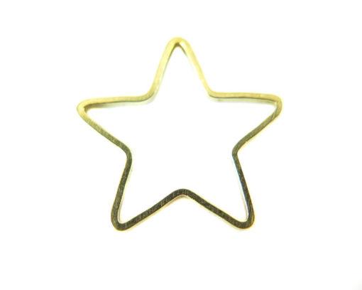 Raw Brass Star Shape Wire Charms