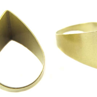 Raw Brass Tapered Cut Teardrop Charms