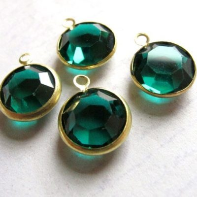 emerald green channel Swarovski charms