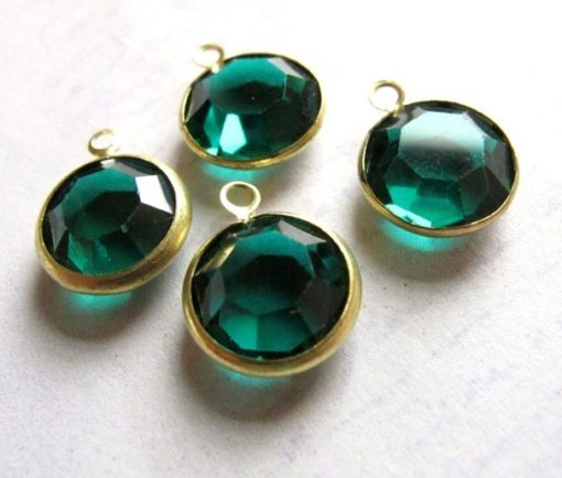 emerald green channel Swarovski charms