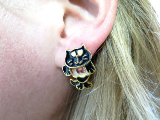 black and white tuxedo cat with pink flower enamel 2 part stud earrings