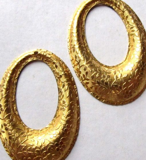 Vintage Gold Plated on Brass Oval Floral Etched Pendants