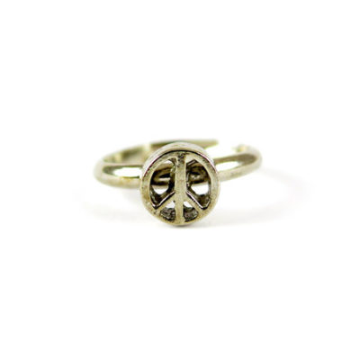 antiqued silver plated peace sign ring