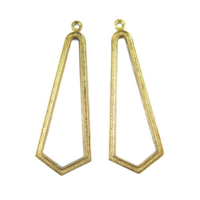 Brass Art Deco Chandelier Triangle Drop Pendants (4X) (M678)