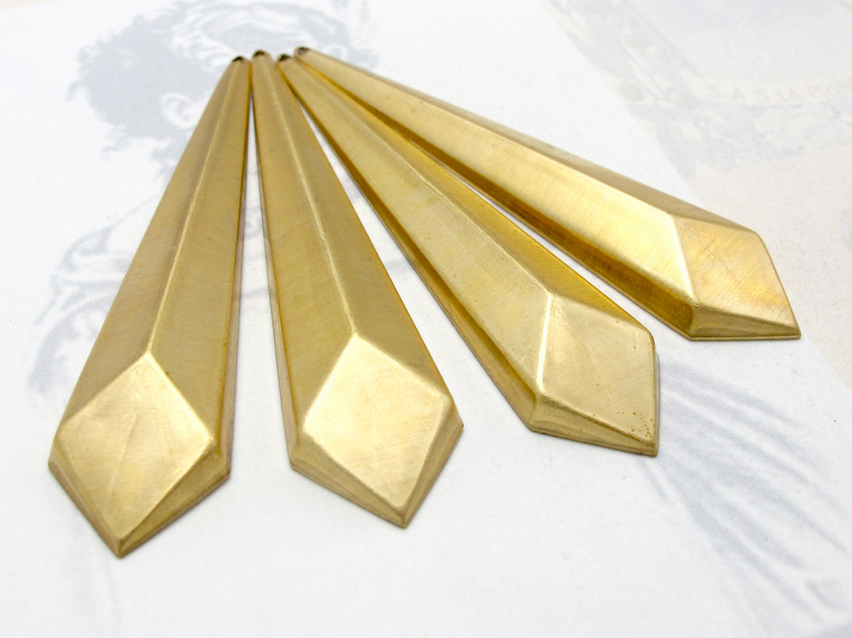 4X M690 Brass Geometric Facet Long Diamond Drop Pendants