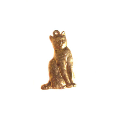 Brass Sitting Cat Charms