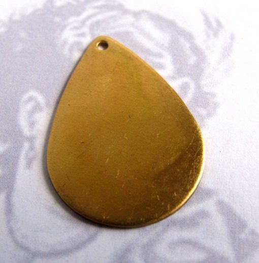 Brass Teardrop Pad Engraving Pad Charms (4X) (30mm) (M661-A)