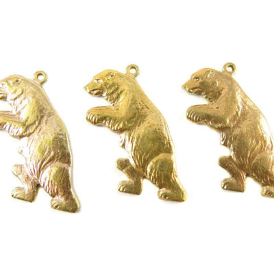 Brass Walking Bear Charms