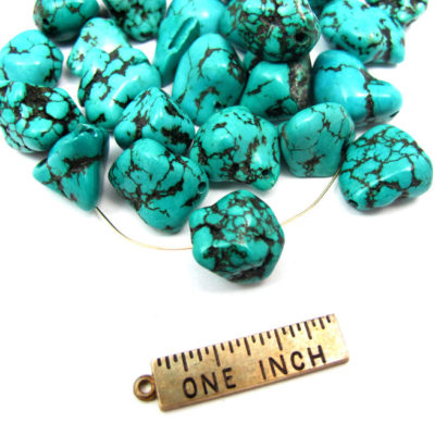 Dyed Howlite Dark Turqoise Blue Rock Beads
