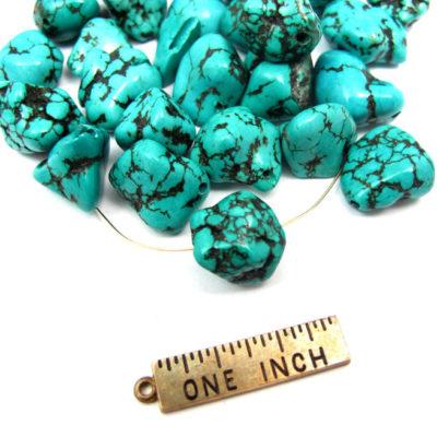 Dyed Howlite Dark Turqoise Blue Rock Beads