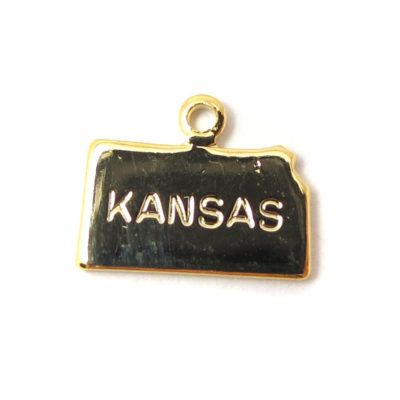 Engraved Tiny GOLD Plated on Raw Brass Kansas State Charms