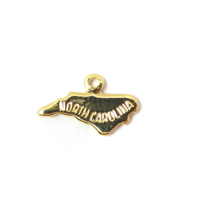 Engraved Tiny GOLD Plated on Raw Brass North Carolina State Charms