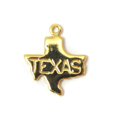 Engraved Tiny GOLD Plated on Raw Brass Texas State Charms