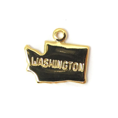 Engraved Tiny GOLD Plated on Raw Brass Washington State Charms