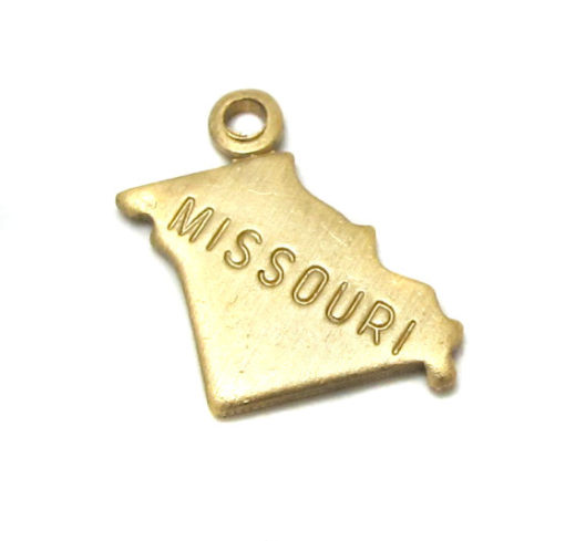 ENGRAVED - Tiny Raw Brass Missouri State Charms