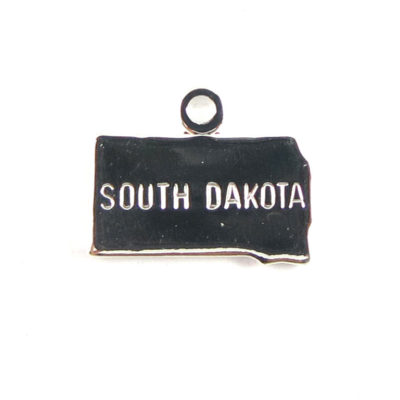 Engraved Tiny SILVER Plated on Raw Brass South Dakota State Charms