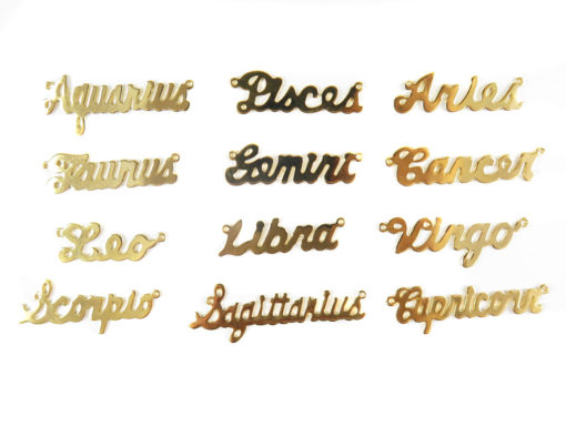Gold Plated Astrological Name Plate Pendants