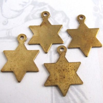 Brass star of David charms
