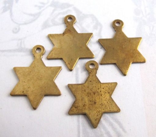 Brass star of David charms