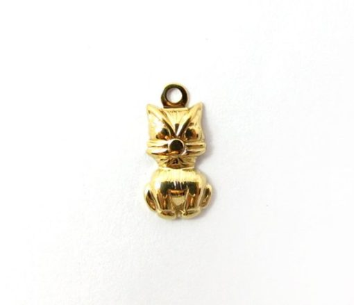tiny gold plate cat charm