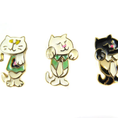 enamel cat 2 part stud earrings