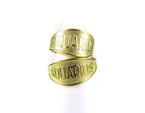 Raw Brass Astrological Sign Ring - AQUARIUS