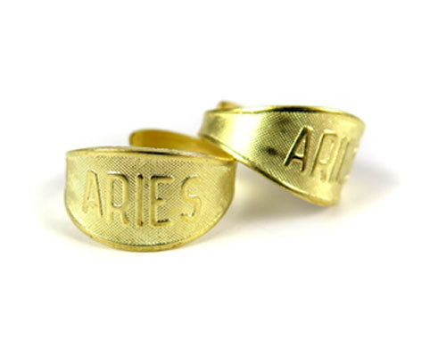 Raw Brass Astrological Sign Ring - ARIES