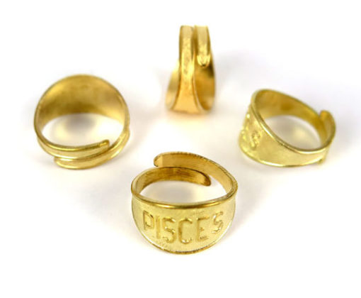 Raw Brass Astrological Sign Ring -PISCES