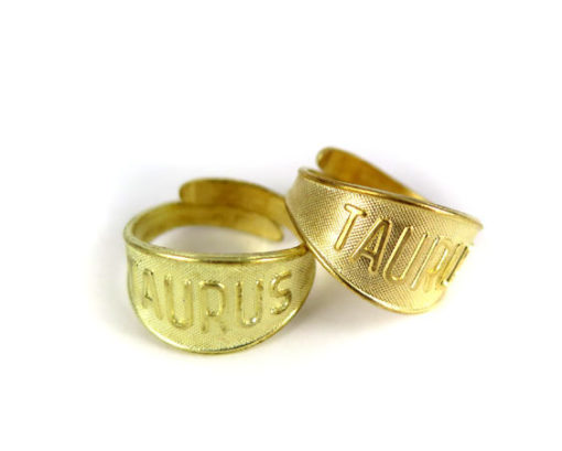 Raw Brass Astrological Sign Ring - TAURUS