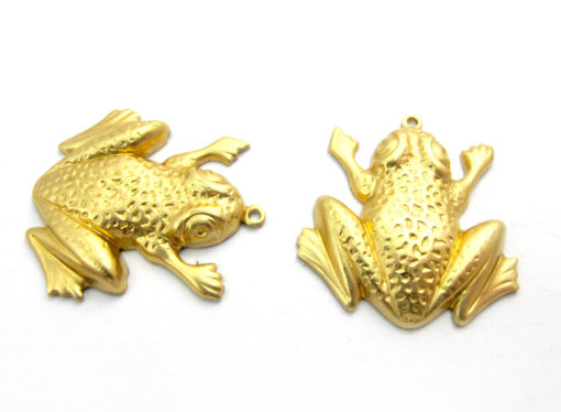 Raw Brass Frog Charms