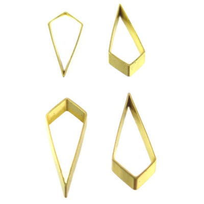 Raw Brass Geometric Diamond Drop Charms