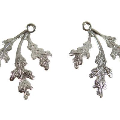 Rhodium Plated Leaf Charms
