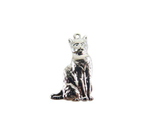 Rhodium Plated Sitting Cat Charms