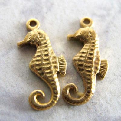 Tiny Brass Sea Horse Charms
