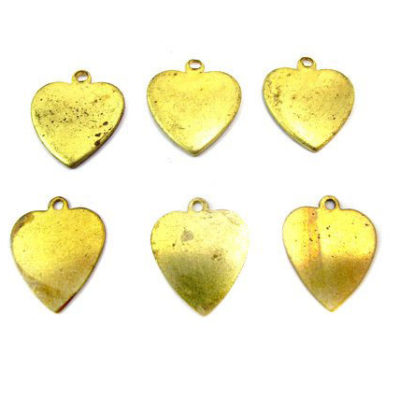 vintage brass engraving heart charms