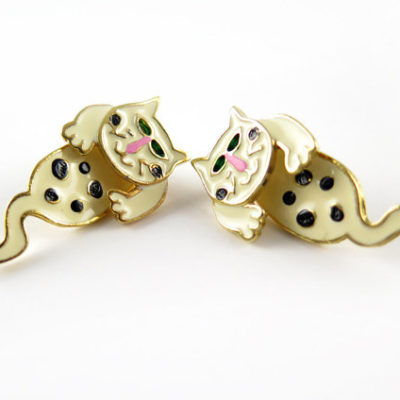 black and white spotted enamel cat two part stud earrings