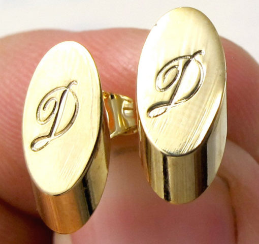 Vintage Gold Plated Oval Script Initial Letter - D -