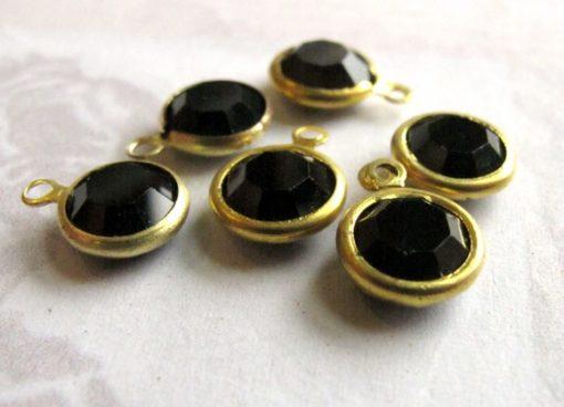 jet black Swarovski crystal channel charm