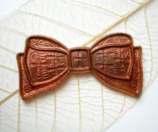 Vintage Raw Copper Bow Pendants