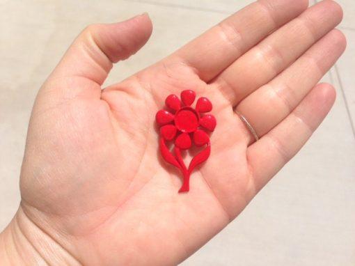 red flower enamel brooch