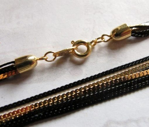 black and gold enamel multi strand necklace