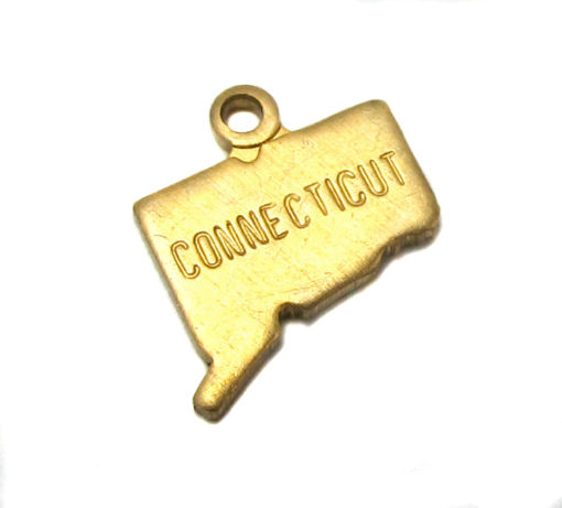 brass engraved Connecticut state charm