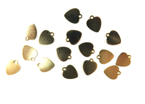 gold plated engraving heart charms