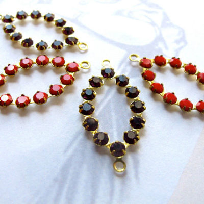 cherry red & black in brass rhinestone charms