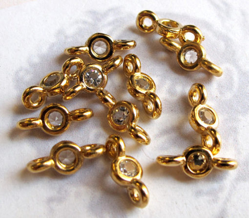 gold plated rhinestone connector charms