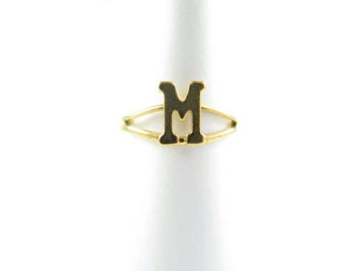 Gold initial letter M adjustable one size fits most ring